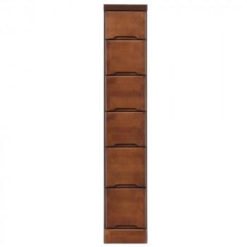 クライン サイズが豊富なすきま収納チェスト ブラウン色 6段 幅22.5cm【同梱・代引き不可】
