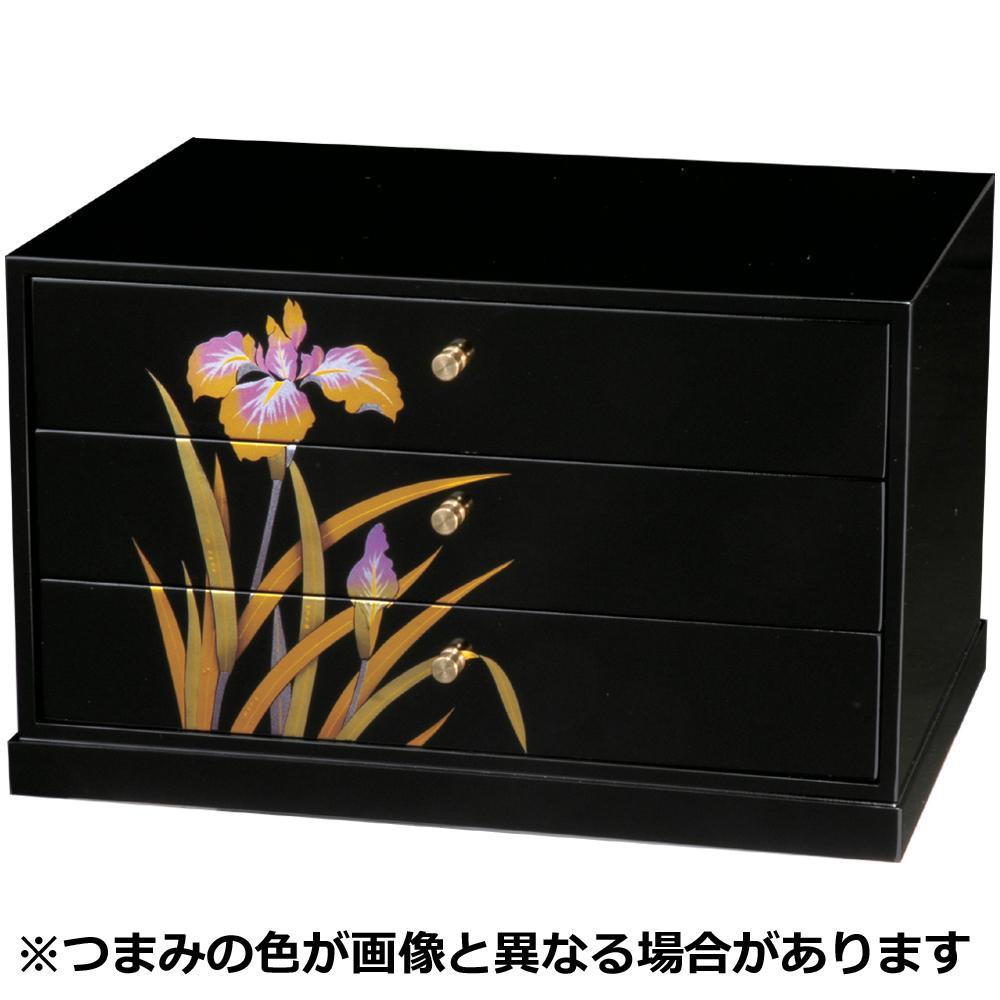 A4三つ引きタンス 蒔絵 金あやめ 2280031【同梱・代引き不可】