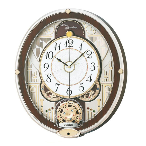 SEIKO セイコークロック 電波クロック からくり掛時計 ウエーブシンフォニー RE577B【同梱・代引き不可】