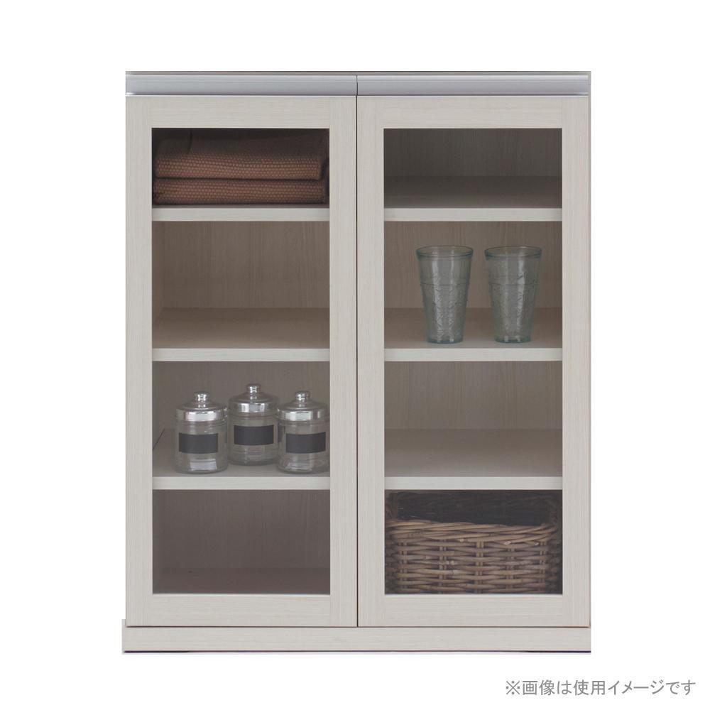 HYBRID CABINET ガラスキャビネット ホワイトウッド柄 MYS-73G【同梱・代引き不可】
