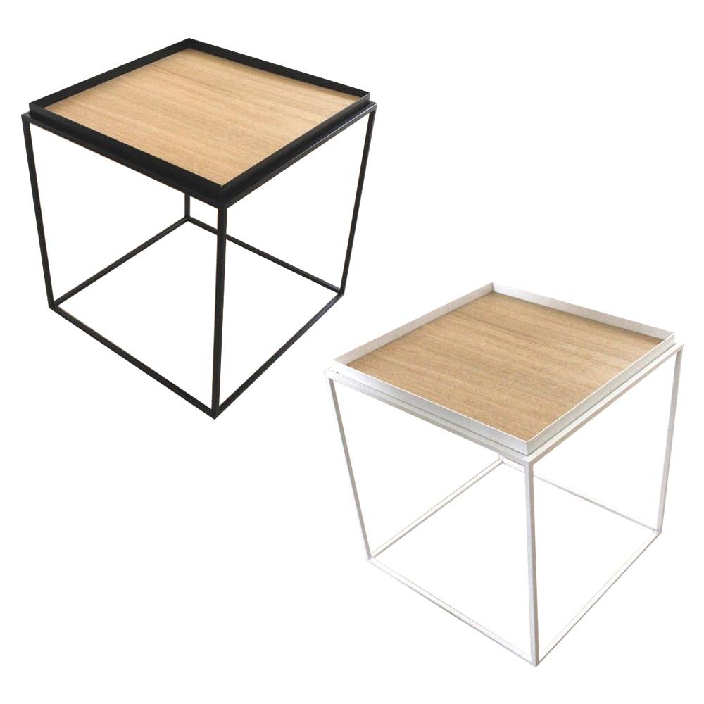 トレイテーブル サイドテーブル 400×400mm ナラ突板【同梱・代引き不可】