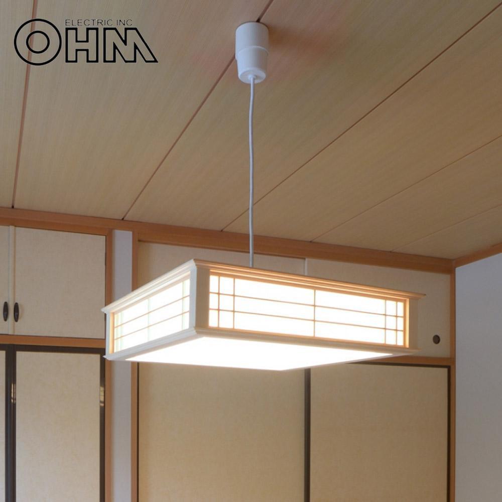 オーム電機 OHM LED和風ペンダントライト 調光 8畳用 昼光色 34W LT-W30D8K-K【同梱・代引き不可】