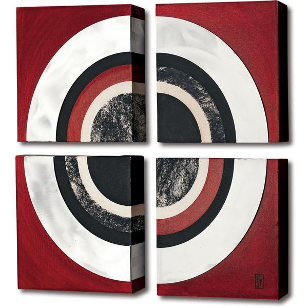 ユーパワー ポロアート 4枚セット 「レッド アルミ サークル」 POA1528C【同梱・代引き不可】
