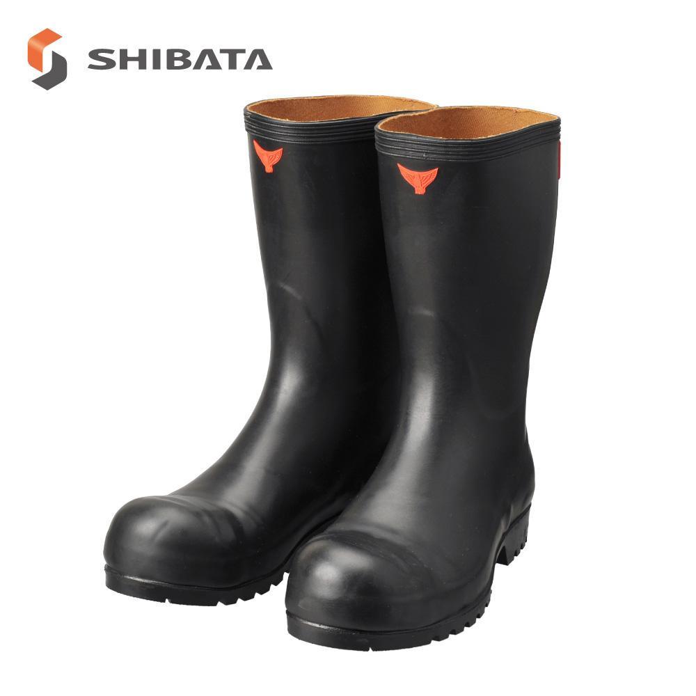 SHIBATA シバタ工業 安全長靴 安全耐油 AO010 ブラック 24.5センチ【同梱・代引き不可】