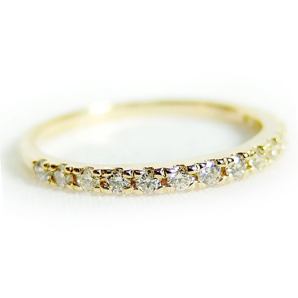 ダイヤモンド リング ハーフエタニティ 0.2ct 9号 K18 イエローゴールド ハーフエタニティリング 指輪【同梱・代引不可】