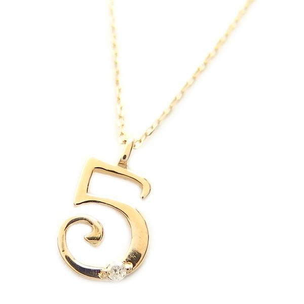 同梱・代金引換不可ナンバー ネックレス ダイヤモンド ネックレス 一粒 0.01ct K18 ゴールド 数字 5 ダイヤネックレス ペンダント