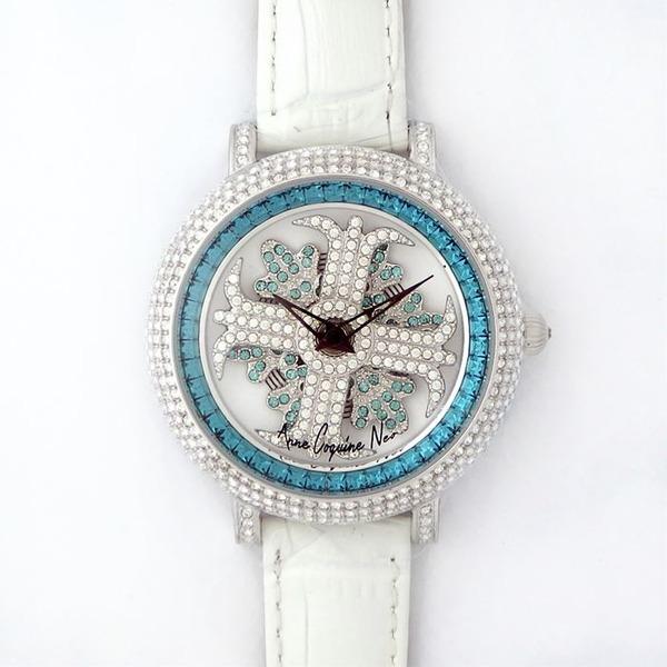 アンコキーヌ ネオ 40mm バイカラー ミニクロス シルバーベゼル インナーベゼルブルー ホワイトベルト アルバ 正規品(腕時計・グルグル時計)【同梱・代金引換不可】