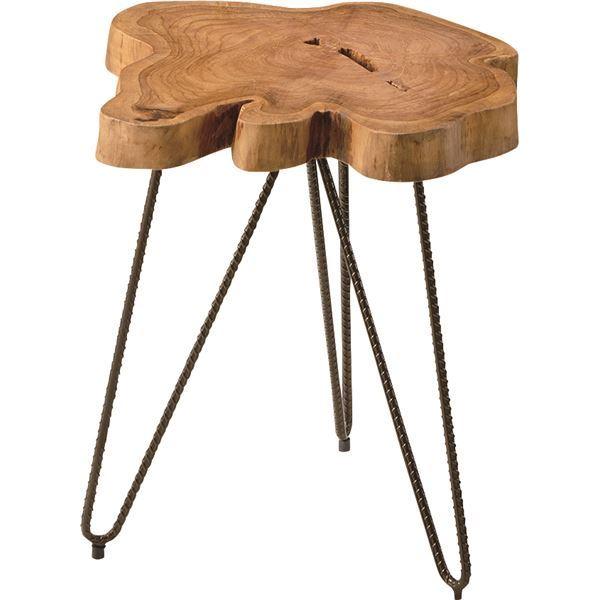 サイドテーブル(ムク) 木製/スチール TTF-185【同梱・代引不可】