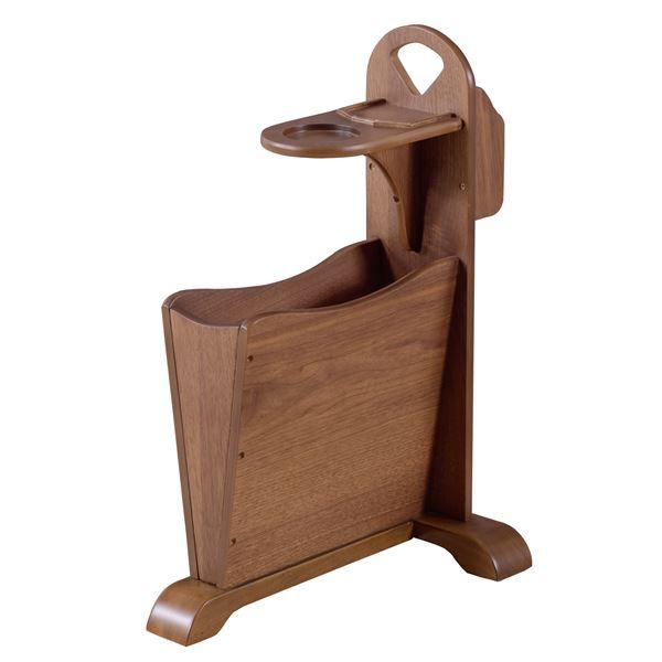 天然木サイドテーブル/ミニテーブル 【幅45cm×奥行30.5cm×高さ60cm】 木製 収納ラック付き 『トムテ』【同梱・代引不可】