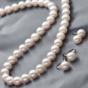 花珠本真珠(あこや真珠) 7.5-8mm パールネックレス+パールピアス 2点セット 【本真珠】【同梱・代引不可】
