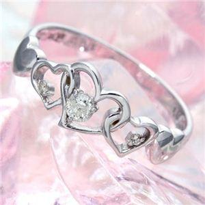 ハート透かし合計0.08ctダイヤリング 指輪 17号 【同梱・代引不可】