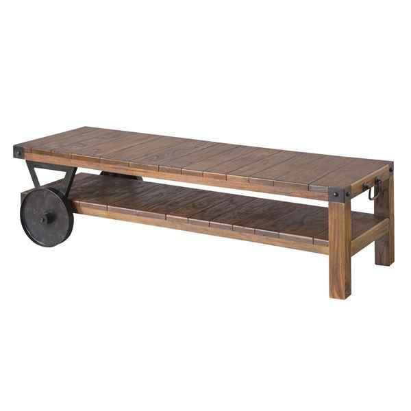 トロリーローボード(テレビ台/ローテーブル) 木製 【幅120cm:37型~52型対応】 木目調 TTF-118【同梱・代金引換不可】