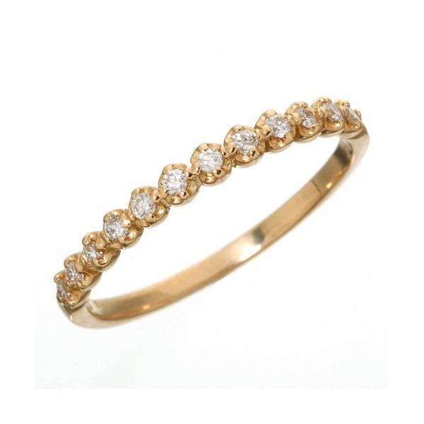 同梱・代金引換不可 K18 ダイヤハーフエタニティリング ピンクゴールド 15号 指輪