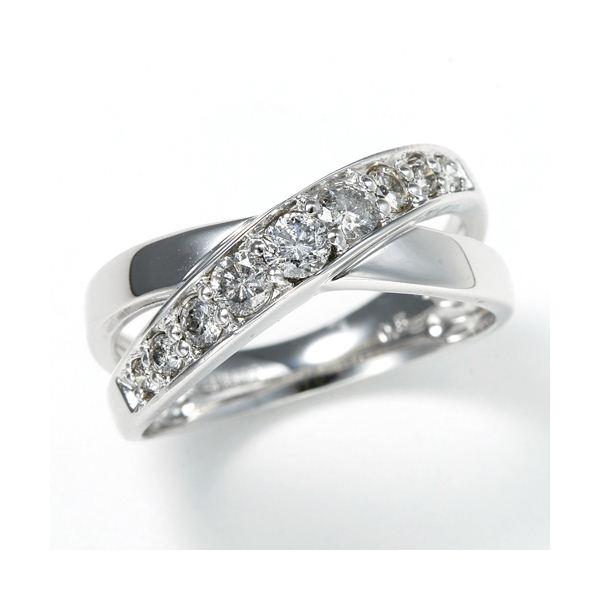 同梱・代金引換不可 0.5ct ダブルクロスダイヤリング 指輪 エタニティリング 9号