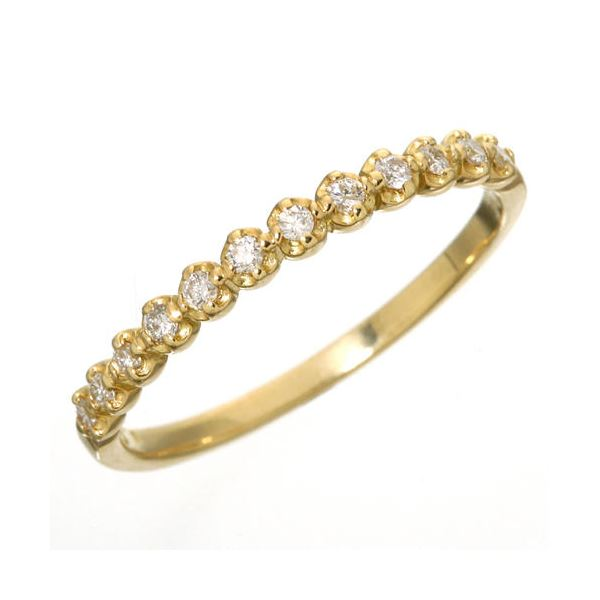 K18 ダイヤハーフエタニティリング イエローゴールド 15号 指輪 【同梱・代引不可】