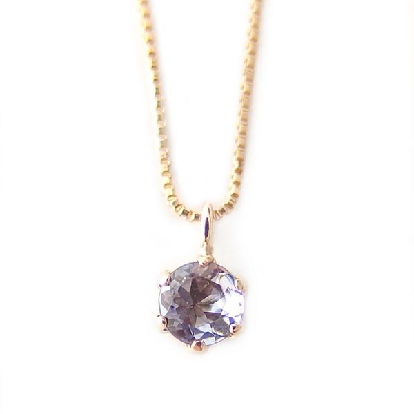 同梱・代金引換不可ネックレス タンザナイト K18 イエローゴールド 12月 誕生石 一粒 シンプル プチネックレス ペンダント