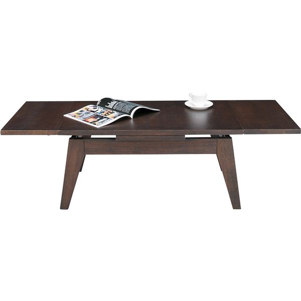伸長式ローテーブルS 木製(天然木) CPN-107BR ブラウン【同梱・代引不可】