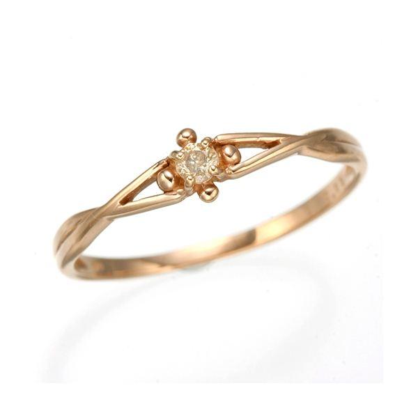 K10 ピンクゴールド ダイヤリング 指輪 スプリングリング 184273 15号 【同梱・代金引換不可】