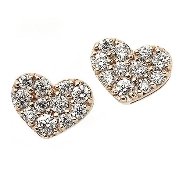 同梱・代金引換不可ダイヤモンド ピアス K18 ピンクゴールド 0.1ct ハート パヴェピアス 0.1カラット ハートパヴェ
