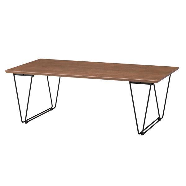 デザインコーヒーテーブル/ローテーブル 【幅110cm】 スチール脚 ブラウン 『アーロン』 END-221BR【同梱・代引不可】