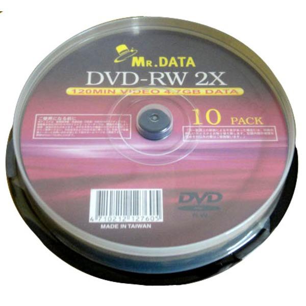 データ用DVD-RW 4.7GB 2倍速 10枚 DVD-RW47-2X10PS×20P 【20個セット】 【同梱・代金引換不可】
