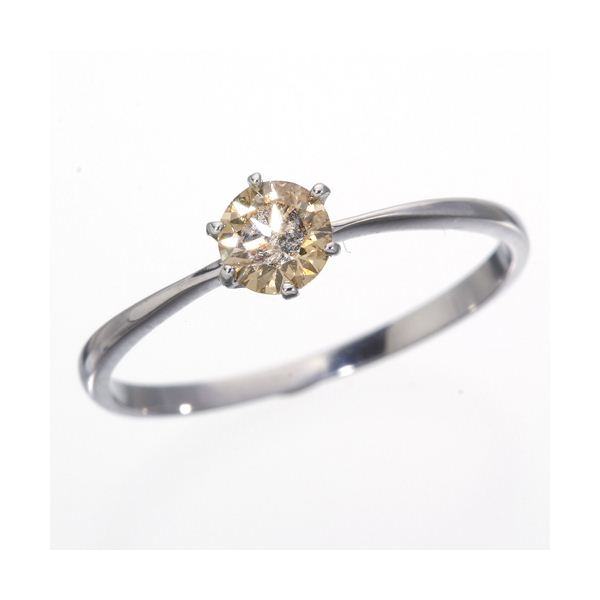 K18WG (ホワイトゴールド)0.25ctライトブラウンダイヤリング 指輪 183828 9号 【同梱・代金引換不可】