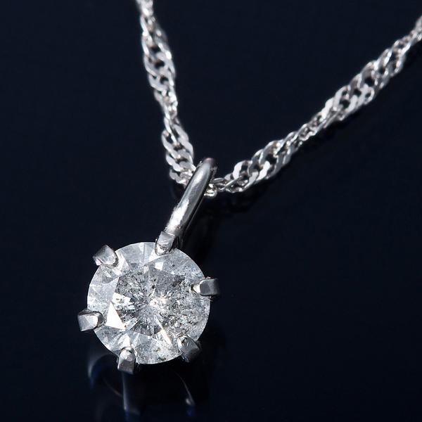 K18WG 0.1ctダイヤモンドペンダント/ネックレス スクリューチェーン(鑑定書付き) 【同梱・代金引換不可】