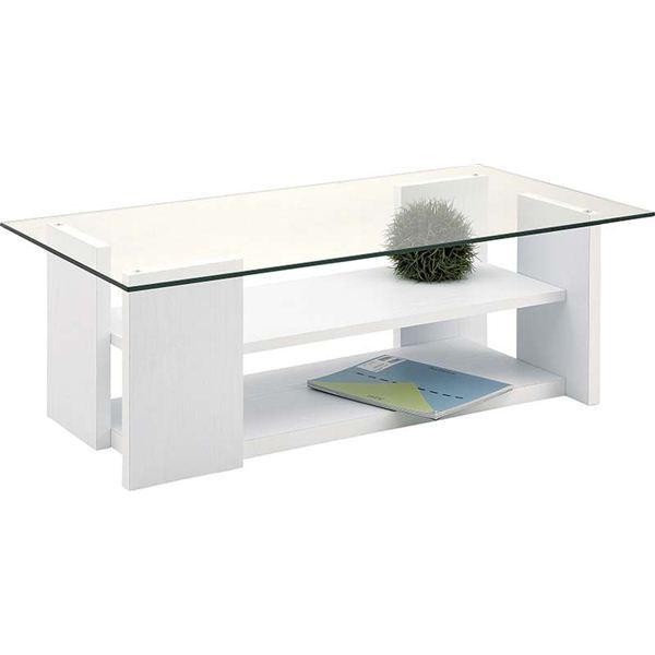 ローテーブル(強化ガラステーブル) 棚収納付き SO-100WH ホワイト(白)【同梱・代引不可】