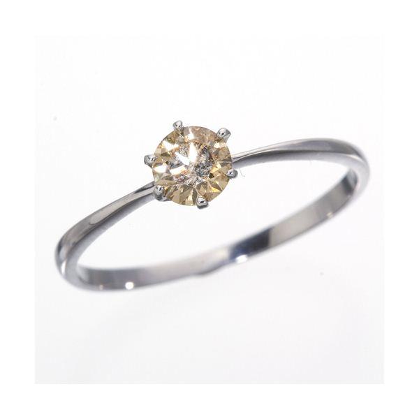 K18WG (ホワイトゴールド)0.25ctライトブラウンダイヤリング 指輪 183828 19号 【同梱・代金引換不可】