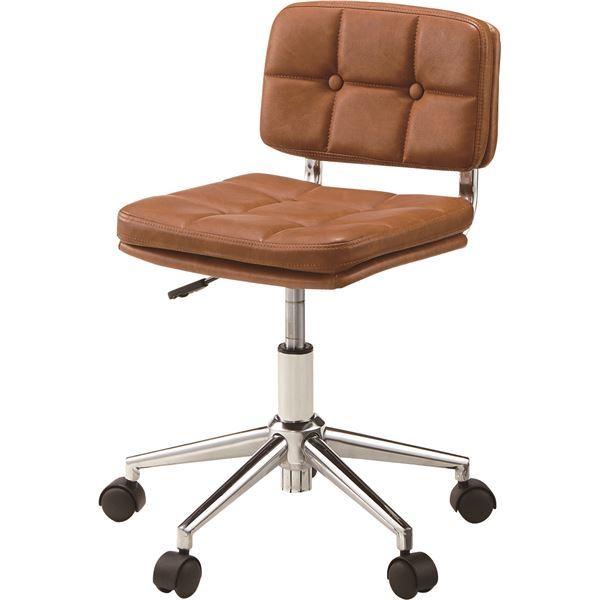 (2脚セット)東谷 デスクチェア(椅子) 昇降機能付き スチール/ソフトレザー/合皮 RKC-301BR ブラウン【同梱・代金引換不可】