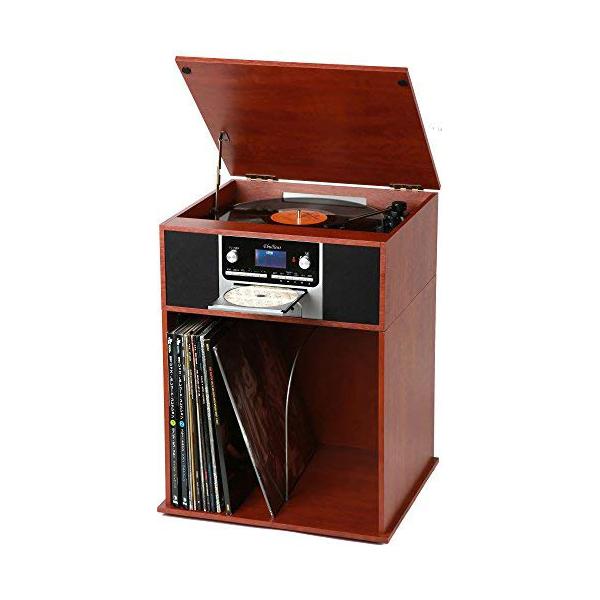 ★クーポンで1000円off★ レコードプレーヤー スピーカー内蔵 収納ラック付き 木目調 CD USB対応 マルチプレーヤー スピーカー付属 とうしょう TS-7120