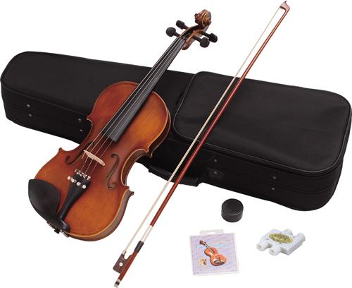 バイオリン 初心者入門 6点セット【4/4サイズ大人用】Hallstatt ハルシュタット【V12】 サテンブラウン グロスホワイト バイオリン本体 セミハードケース 弓 松脂 ピッチパイプ 弦のセット 【代引不可】【同梱不可】