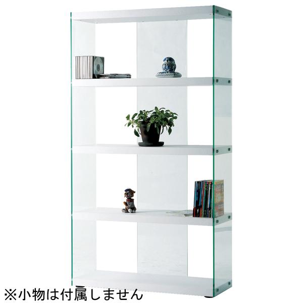 インテリア家具 グラスシェルフ HAB-624WH 【代引不可】【同梱不可】