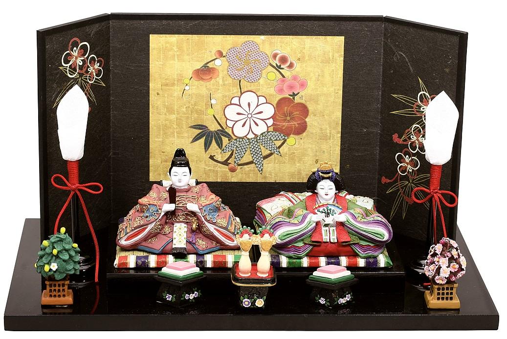 雛人形 内裏雛彩寿燭台付和紙屏風   ひな人形 桃の節句 ひな祭り 出産祝い 初節句 季節飾り 小さい コンパクト