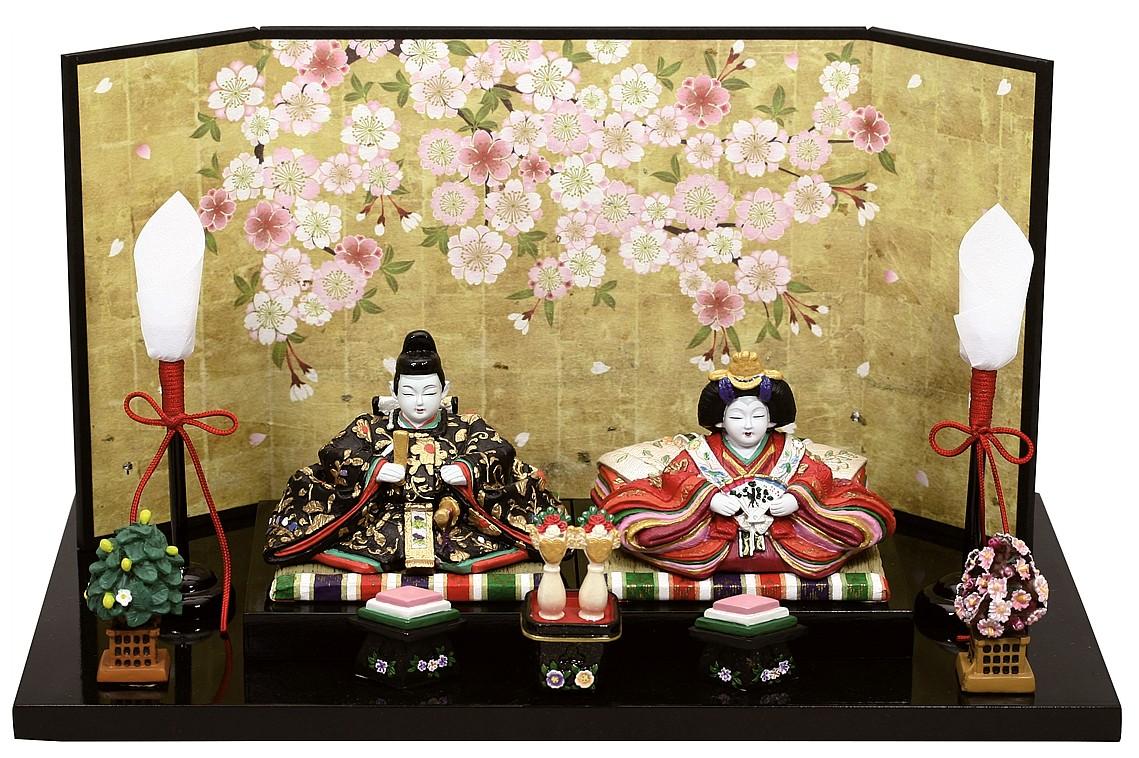 雛人形 内裏雛弥生燭台付和紙屏風   ひな人形 桃の節句 ひな祭り 出産祝い 初節句 季節飾り 小さい コンパクト