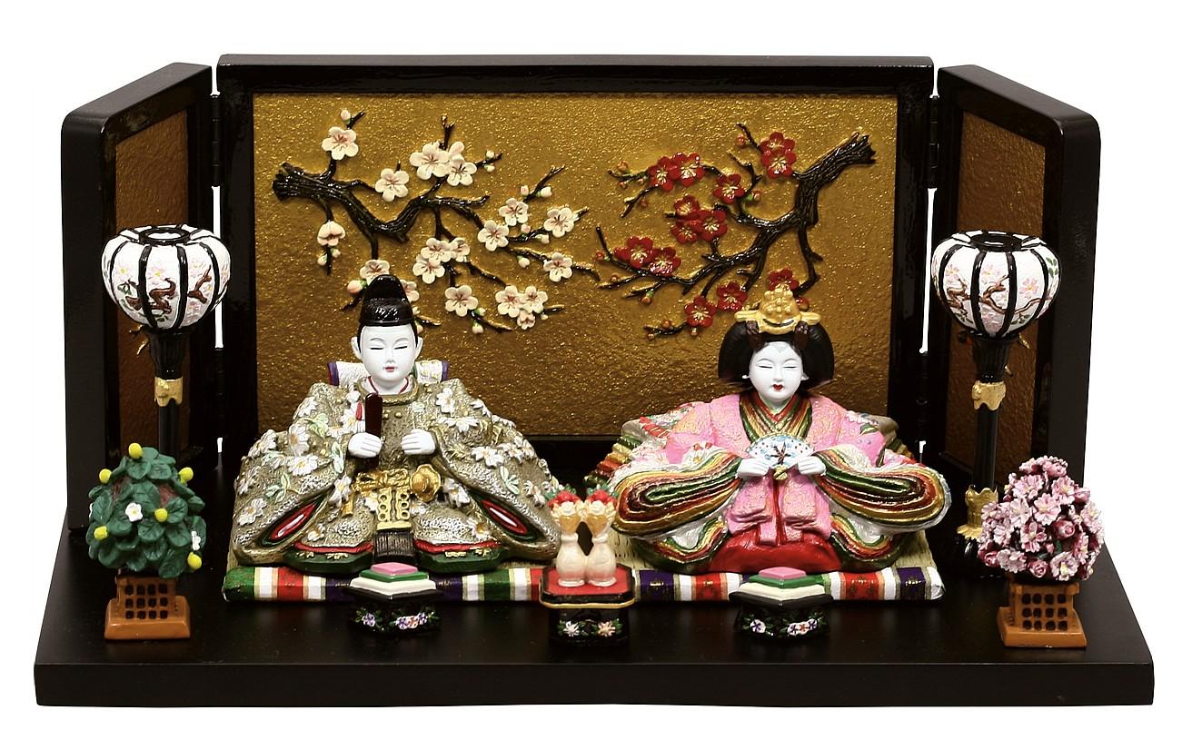 雛人形 内裏雛若葉中絵屏風付   ひな人形 桃の節句 ひな祭り 出産祝い 初節句 季節飾り 小さい コンパクト