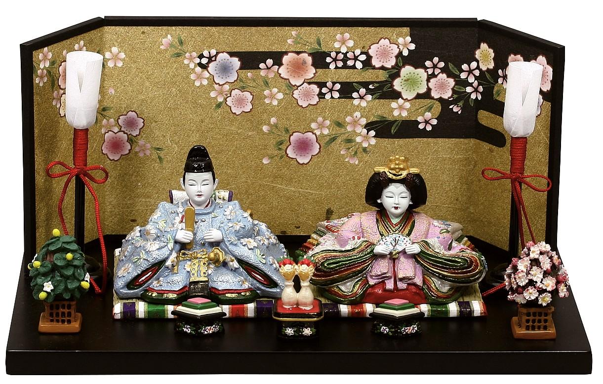 雛人形 内裏雛瑞鳳中道具付和紙屏風   ひな人形 桃の節句 ひな祭り 出産祝い 初節句 季節飾り 小さい コンパクト
