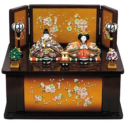 ≪ 京春雛 木製収納飾り桜(茶) ≫   雛人形 ひな人形 初節句 季節飾り 小さい コンパクト