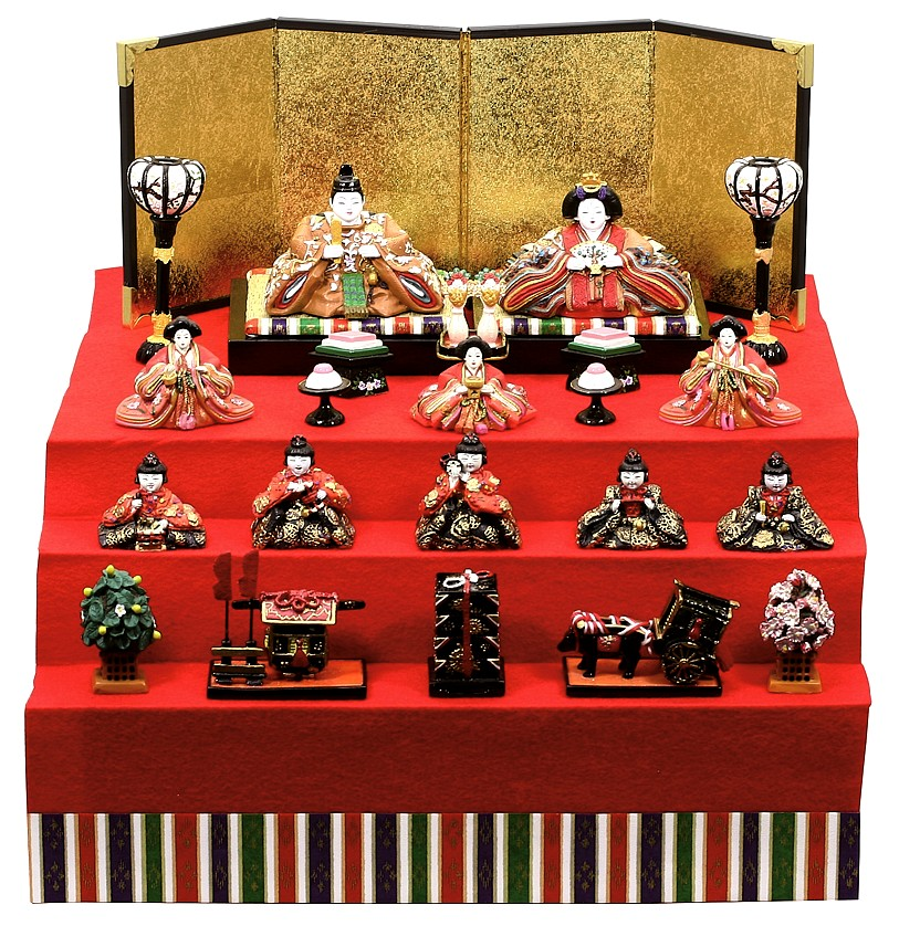 雛人形 コンパクト 内裏雛九重中新三段飾り大   三段飾り 初節句 ミニチュア 10人