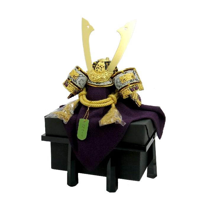 ≪ 純金箔押 正絹 金茶兜 8号 ≫  甲冑 正絹 五月人形 兜飾 コンパクト 単品 日本土産