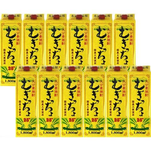 麦焼酎 紙パック 12本セット 老松酒造 むぎっちょ 紙パック 25度 1800ml×12 送料無料