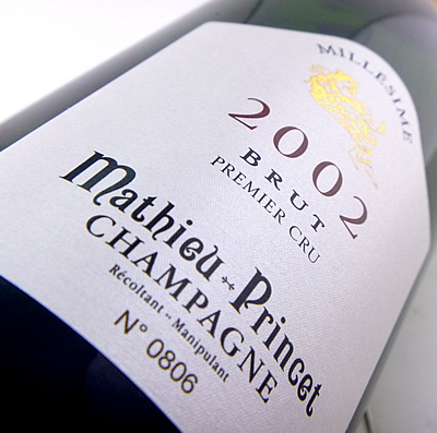 Mathieu plans champagne 2002 750 ml