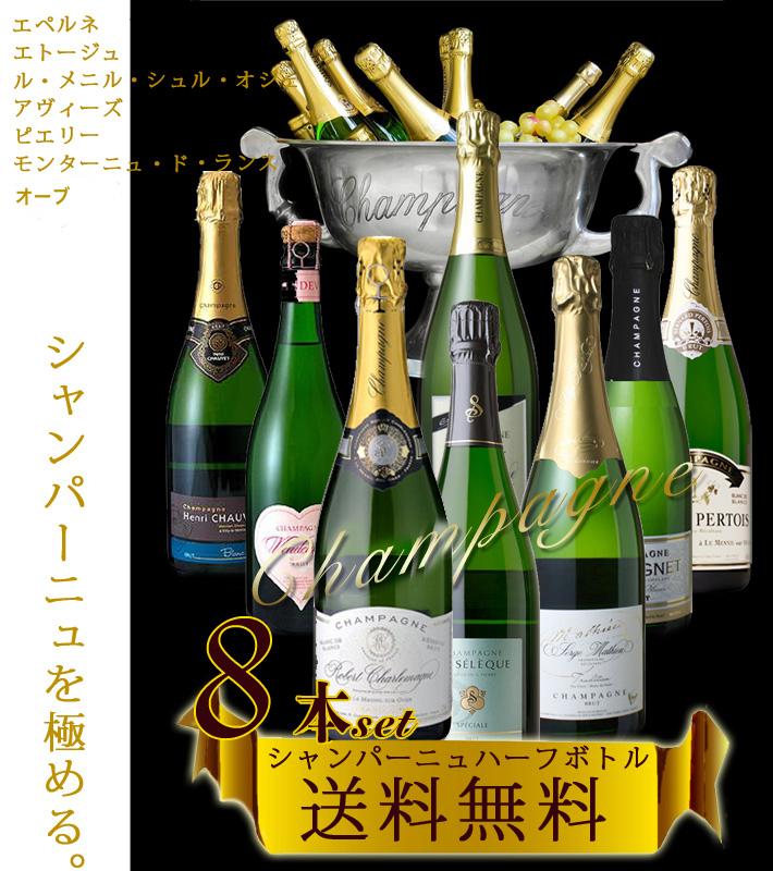 ハーフ シャンパン セット 8本 地域別 飲み比べ 送料無料 375ml×8本 オーガニック レコルタン マニュピラン シャンパーニュ