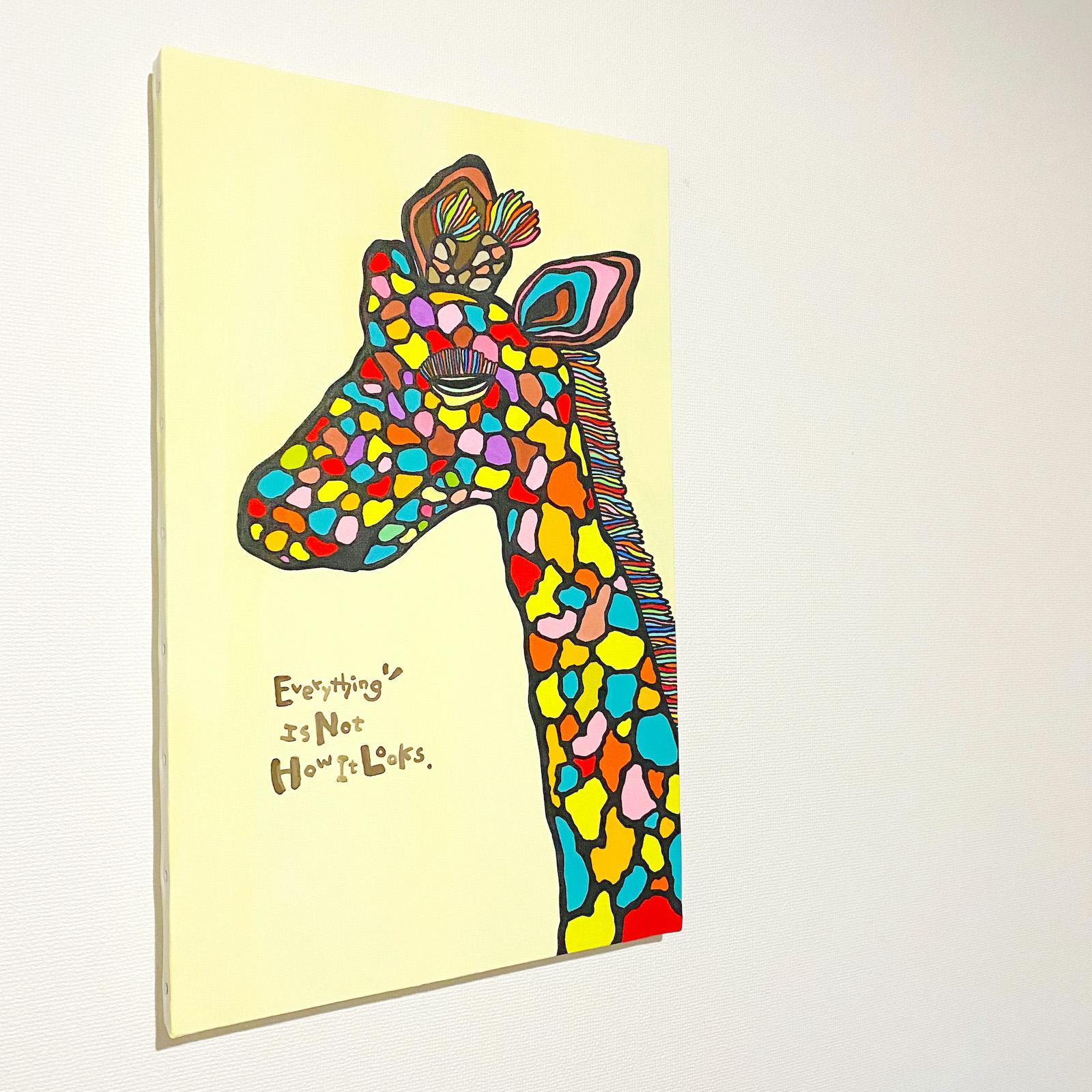絵画 絵 原画 アート キャンバス インテリア キリン きりん 麒麟 動物 P8号 (455×333 mm) カラフル おしゃれ かわいい 手書きアート 一点物 アニマル キャンバスアート パネルアート ファブリックパネル アートボード アートパネル