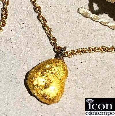 純金K24,PT850金塊ナゲットペンダント+K18ネックレス メル