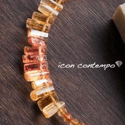 K10YGインペリアルトパーズ柱状原石9.45ct シェリーピンク+ゴールデンオレンジ ブレスレット ハモサ