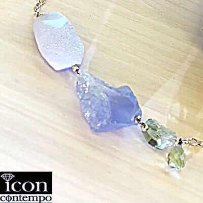 純銀onSV925大粒ドゥルージー原石結晶ブルーレースアゲート ブルーカルセドニー グリーンアメジスト ロングネックレス ポリヒドロン 青流波