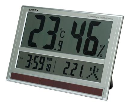 [TD-8170]ジャンボソーラーデジタル温度・湿度計/電波時計【送料・代引料無料】