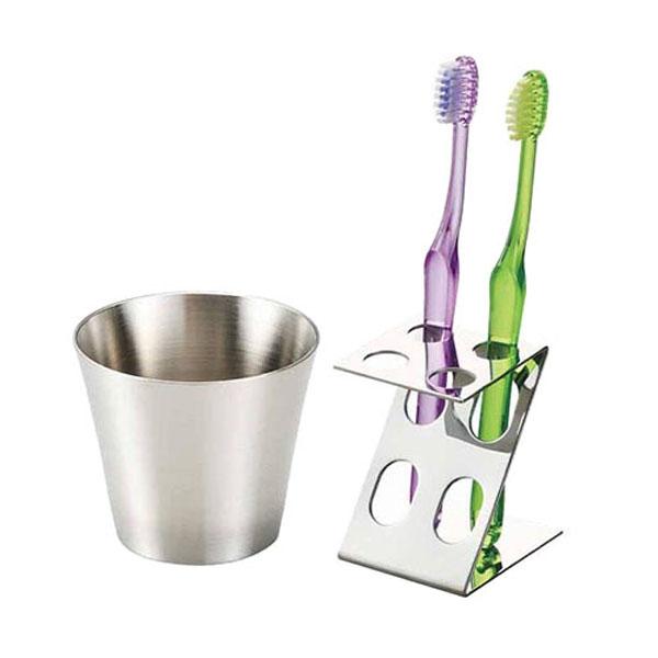 シンプルデザインのステンレスコップと歯ブラシスタンド スリム歯磨きセット 購買 ステンレス歯ブラシスタンド お値打ち価格で ステンレスコップ