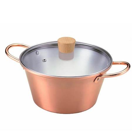 ことこと銅の煮込み鍋 20cm ガラス蓋付き 【送料無料】